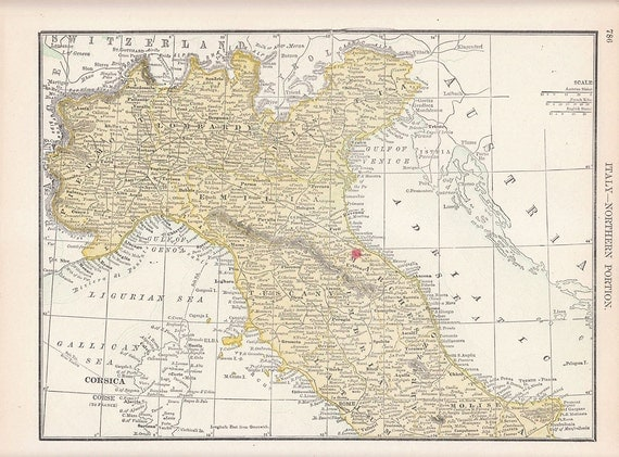 Antique Double Sided Color Map - Turkey Italy - 1892 Vintage Paper