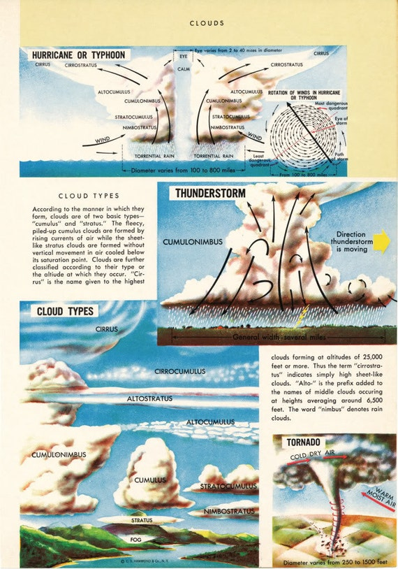 Vintage Weather Chart - Cloud Types - 50s Encyclopedia Page Color Print