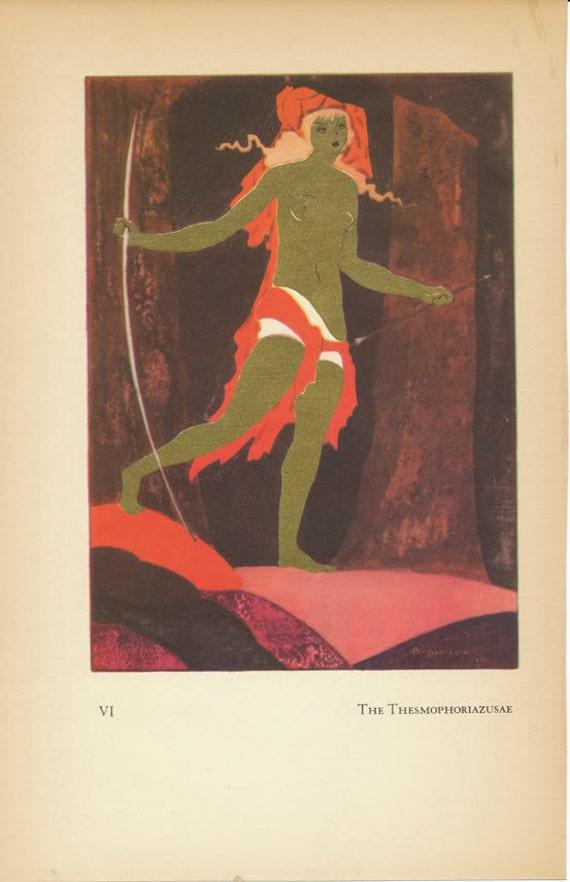 Antique Jean De Bosschere Illustration Color Lithograph Print - The Thesmophoriazusae