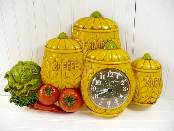 Vintage Burwood  Wall Clock Plastic Kitchen Canisters Vegetables 1970s