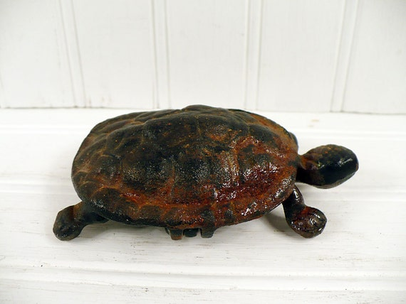 Vintage Turtle Cast Iron Figural Match Safe Holder Metal Figurine