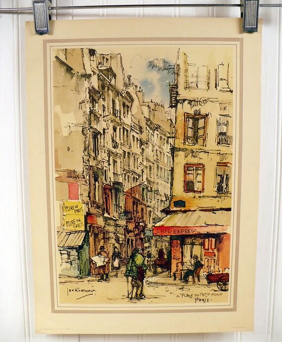 Vintage Paris Print Street Scene - Place Du Petit Pont - Jan Korthals Watercolor