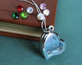 Heart Charm Locket- Starter Edition-Filled with 3 Crystal Birthstones