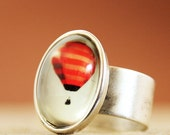 Photo Ring - She Dreamt She Could Fly- Red Hot Air Balloon Whimsical Adjustable Photo Ring