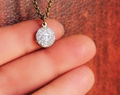 Teeny Tiny Glitter Charm Locket Necklace - Silver Single Edition - Sparkle and Bling Glitter Locket
