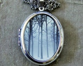 RESERVED for Dakotah - Silver Photo Locket - Ink and Snow - Winter Fog and Trees Enchanted Forest Wearable Art Photo Locket Necklace
