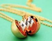 Secret Message Locket - Vintage Brass Ball Locket Necklace - Makes a Great Gift