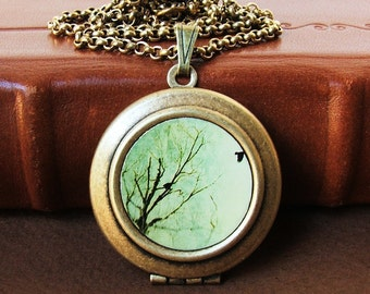 Photo Locket - Aerial - Flying Bird from Tree - Photo Art Locket Necklace