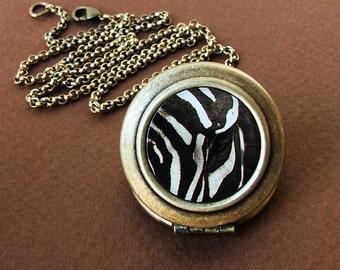 Photo Locket - Alternating Current - Black and White Zebra Locket Necklace