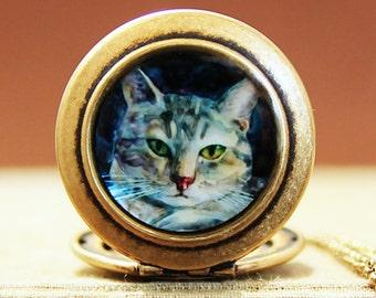 Art Locket - Grey Tabby Cat Wearable Art Locket Necklace