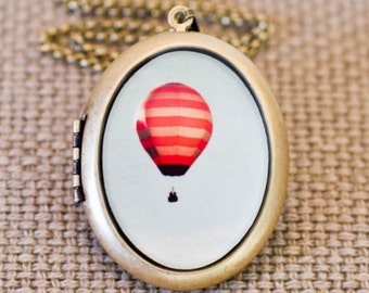 She Dreamt She Could Fly - Photo Locket - Hot Air Balloon Magical Locket Necklace