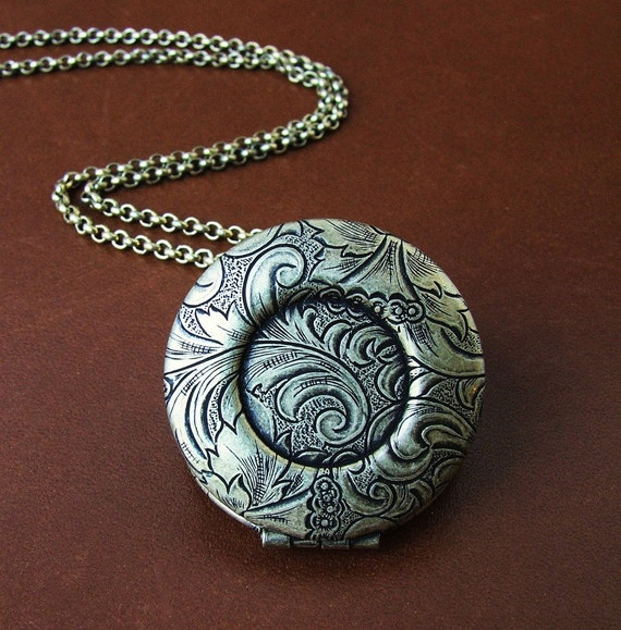 Round Brass Locket - Tapestry Design - perfect for DIY projects