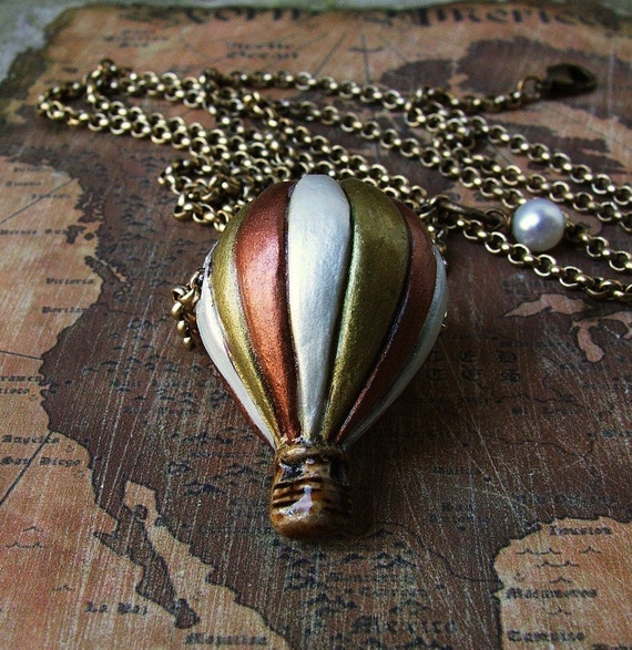 Vintage Voyage- Hot Air Balloon Charm Necklace