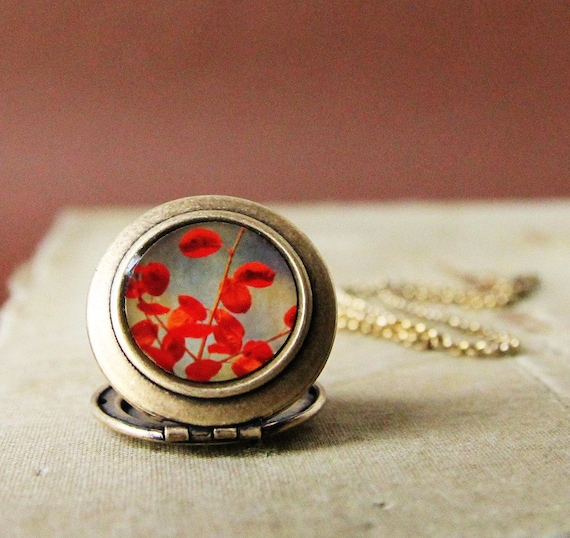 October Curtain Call - Red Autumn Leaves Photo Locket Necklace