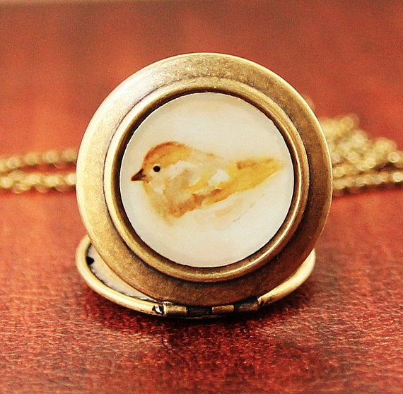 Art Locket - Yellow bird Watercolor Art Locket Necklace - Collaboration with Reneeanne