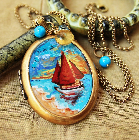California Sunrise-Hand Painted Oil Locket Necklace-Collaboration with Celena McMahon-One of A Kind Locket
