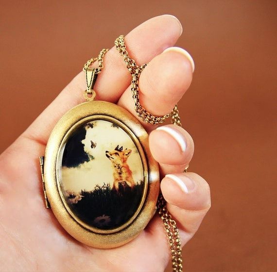 The Little Fox Prince Art Locket - Magical Woodland Fairytale Wearable Art Locket- Limited Edition