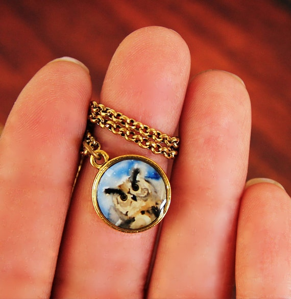 RESERVED for Pasaka - Owl Necklace - Teeny Tiny Charm Pendant Necklace -