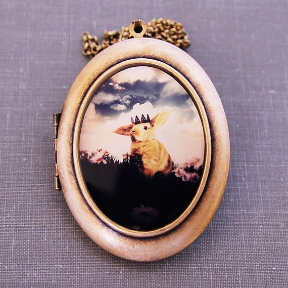 The Little Bunny Prince - Photo Art Locket - Magical Woodland Fairytale Wearable Art Locket- Limited Edition