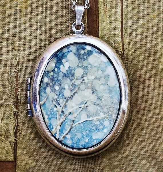 Photo Locket Necklace- Snowblind - Winter Wonderland Snowy Trees - Grande Silver Edition