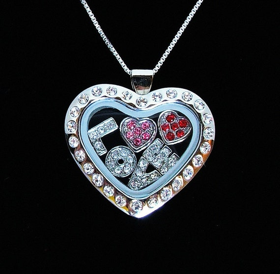 L O V E- Clear Glass Charm Locket Necklace- Pieces of You Collection