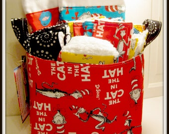 Cat in The Hat Deluxe Baby Gift Basket--- Burp Cloth Set of 2, Bib, Changing Pad, Rattle Block, Wash Cloth Set of 4, Fabric Basket