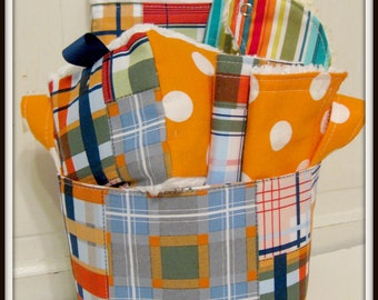 Patchwork Plaid--- Baby Gift Set--- Burp Cloth, Bib, Rattle Block, Wash Cloth Set and Fabric Basket