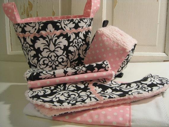 Sweet Athena Baby Girl Gift Basket---- Burp Cloth, Bib, Rattle Block, Wash Cloth Set and Fabric Basket