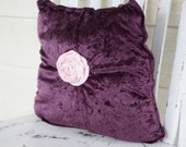 Shabby Cottage Chic Purple Crushed Velveteen Pillow with Pink Fabric Flower