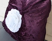 Shabby Cottage Chic Purple Crushed Velveteen Pillow with White Linen Fabric Flower