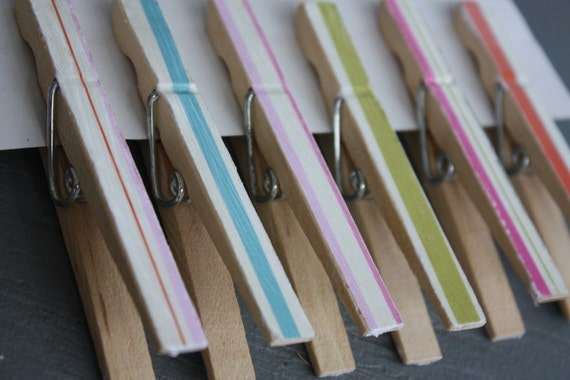 Set of 6 Shabby Cottage Chic Striped ClothesPin Clips