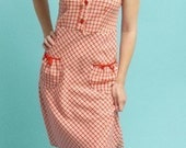 Red Gingham Plaid Summer Dress Size XS-2XL