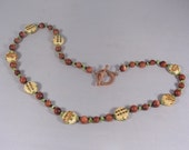 Oriental Tea Party -- Goldstone, Czech Glass, Peridot, and Painted Ceramic Bead Necklace