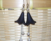 Black Dahlia -- Black, Gold, and Clear Czech Glass and Lucite Flower Earrings