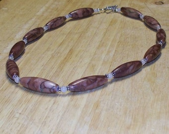 Hot Cocoa with Marshmallows -- Cocoa Jasper and Moonstone Beaded Necklace