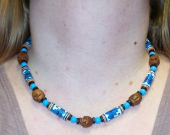 Incan Mummy -- Wooden Skull, Painted Ceramic, and Wood Beaded Necklace