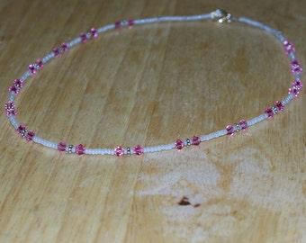 Blushing Bride -- Czech Glass and Swarovski Crystal Necklace in Pale Pink and Pearly White