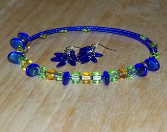 Deep Blue Paradise -- Very Tropical Blue, Green, and Golden Czech Glass Beaded Necklace and Earring Set