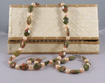 The Charities -- Peach Baroque Pearl and Unakite Beaded Necklace and Earring Set