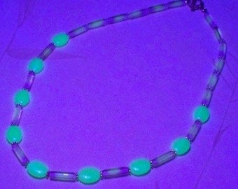 You Just May Be the One -- UV Reactive Czech Glass Beaded Necklace