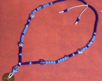 Longevity -- Blue and White Chinese Porcelain, Wood, and I Ching Coin Beaded Necklace
