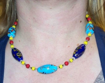 Winter Market -- Wood, Glass, and Ceramic Painted Bead Necklace