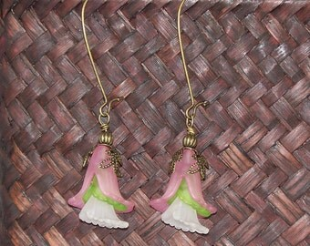 Flora -- Pink, Spring Green, and White Frosted Lucite Flower Earrings