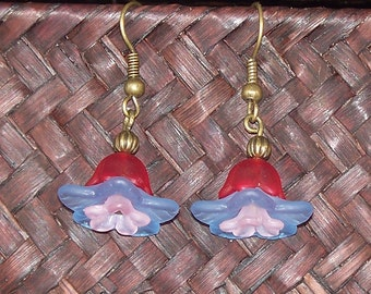 Flora -- Red, Periwinkle, and Pink Lucite Flower Earrings