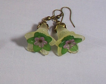 Flora -- Pale Yellow, Green, and Pink Lucite Flower Earrings