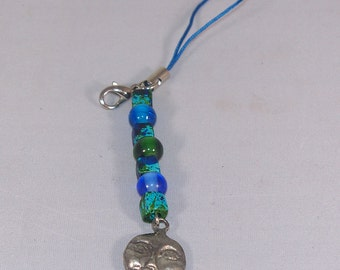 Man in the Moon -- Indian Glass, Greek Ceramic Beads, and Moon Face Beaded Cell Phone Charm / Zipper Pull