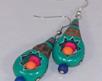 Fiesta -- Colourful Painted Ceramic and Wooden Bead Earrings