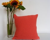 UK SILLY SALE the handknitted moss stitch cushion (terracotta orange)(40 x 40 cm) HALF PRICE