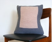 Hand knit colourblock cushion