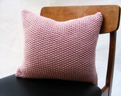 Hand Knit Cushion 40 x 40cm - Moss Stitch Rose Pink